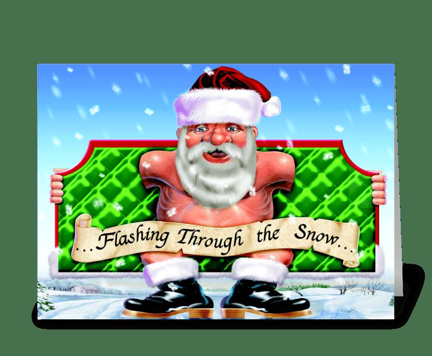 Flashing through the snow... greeting card