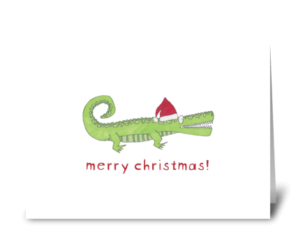 santa gator greeting card