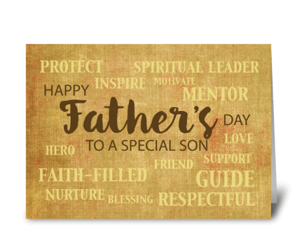 Son Religious Father's Day Qualities greeting card