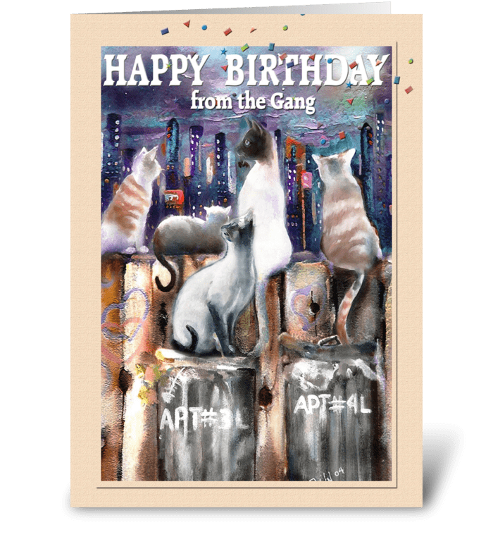 Cool Cats, Birthday ART greeting card