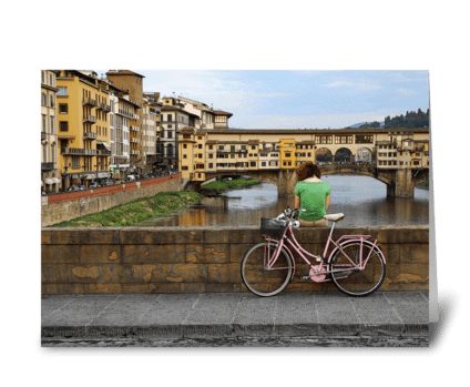 Pink Bike Girl greeting card