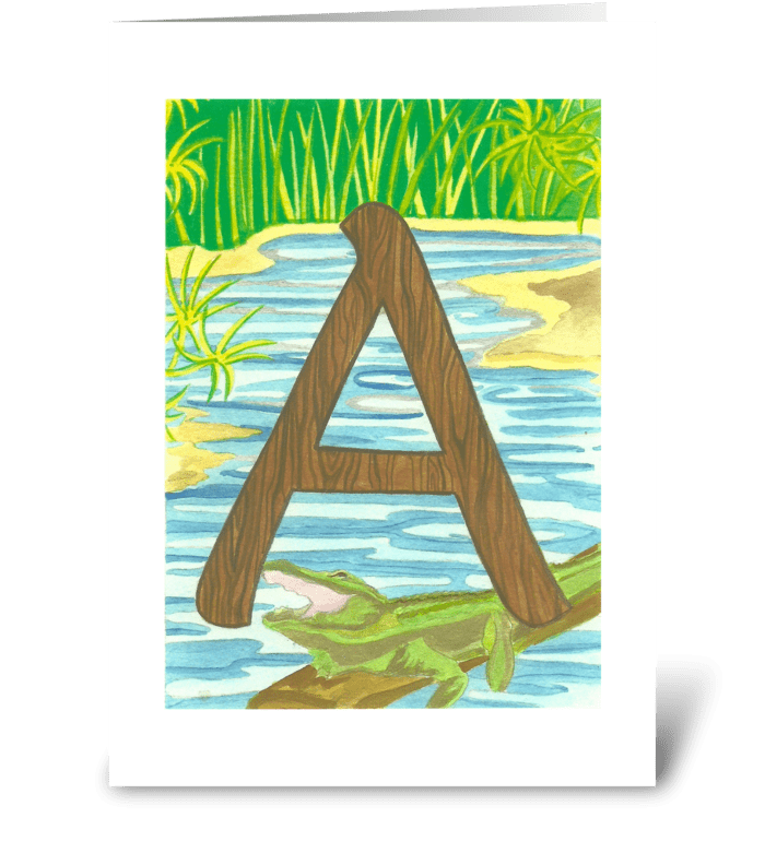 A for Alligator greeting card