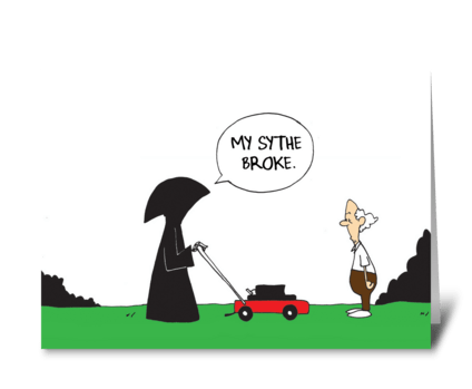 Death's Lawnmower greeting card