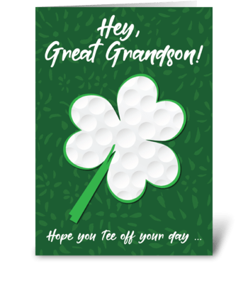 Great Grandson Golf Sports St. Patrick's greeting card