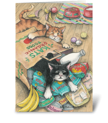 Cat's Out Of The Bag #4 greeting card