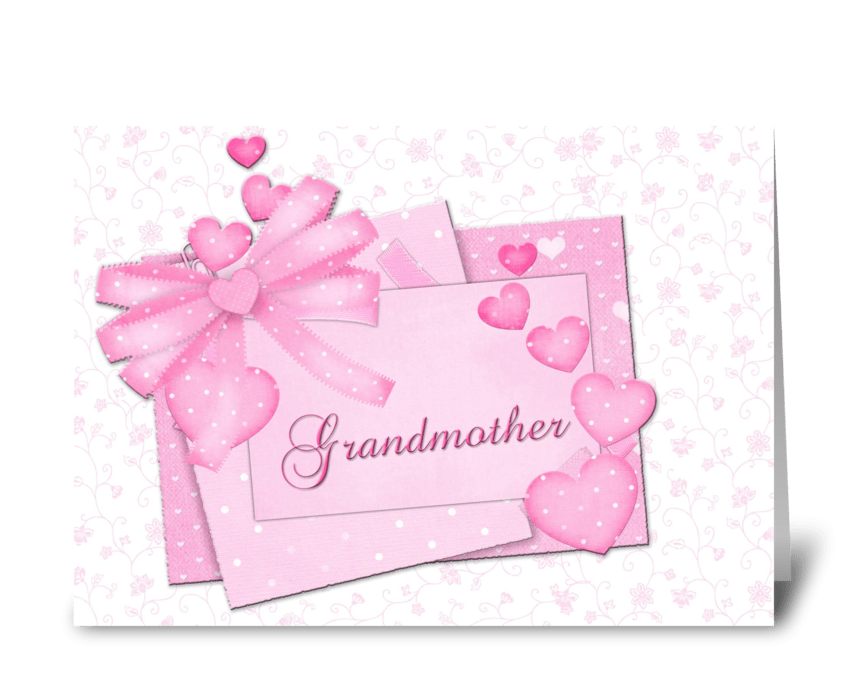 Grandmother Mother's Day Pink Hearts greeting card