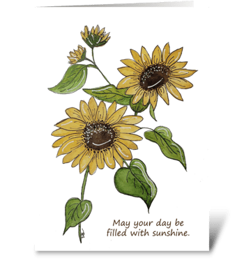 Sunflower Cluster Watercolor Card greeting card
