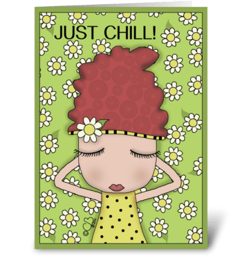 Chilling Girl- Birthday-Girl in Daisies greeting card