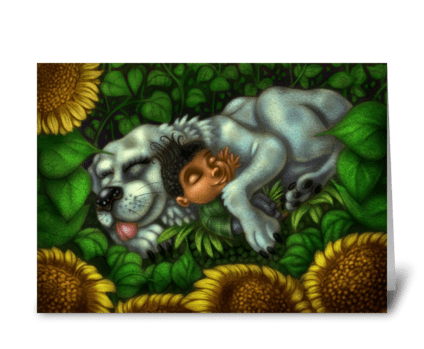 Boy and Dog in Sunflower Field  greeting card