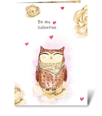 Watercolor cute owl and beautiful peonie greeting card