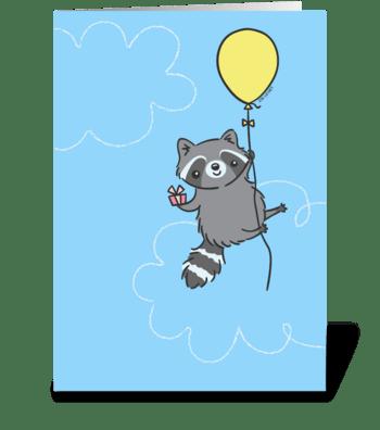 Happy Birthday Raccoon - Yellow Balloon greeting card