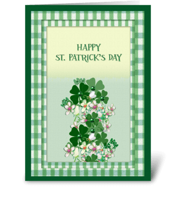 Jeweled Clover, Happy St. Patrick's Day greeting card