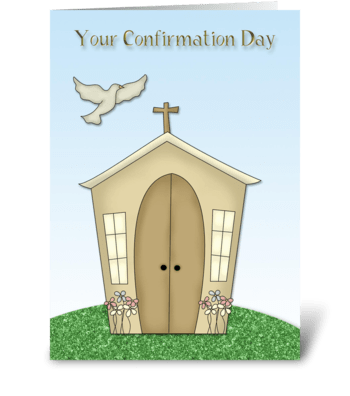 Confirmation, Church, Dove greeting card