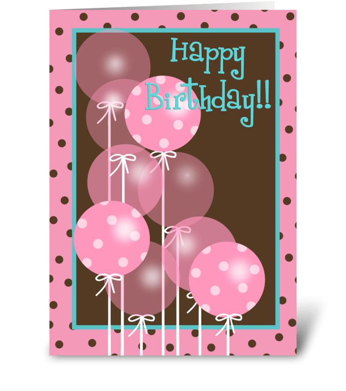 Pink Happy Birthday Balloons greeting card