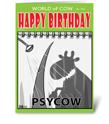 PsyCow Birthday card greeting card