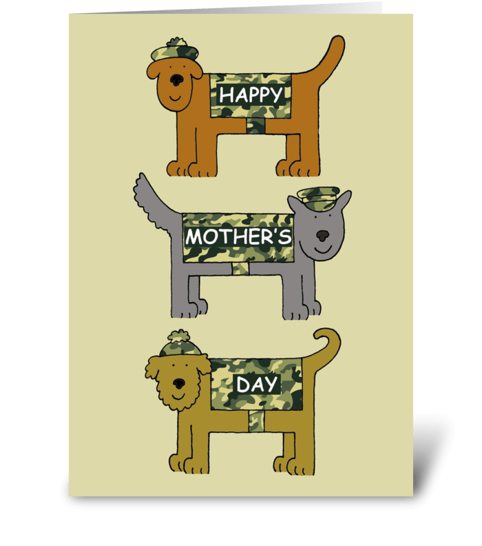 Happy Mother's Day Military Cute Dogs. greeting card