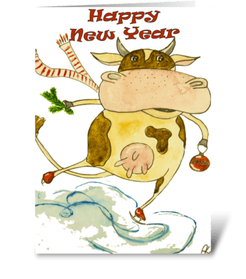 New Year Cow greeting card