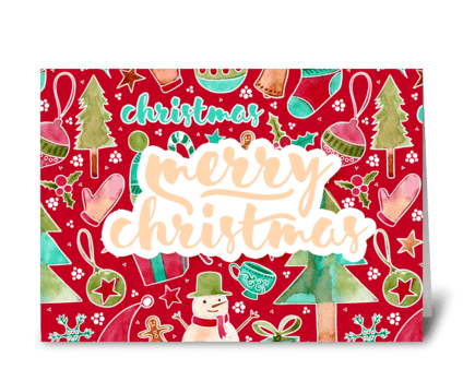 Merry Christmas pattern watercolor card  greeting card