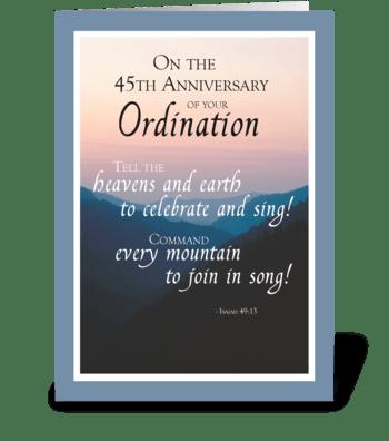 45th Anniversary of Ordination Congrats greeting card