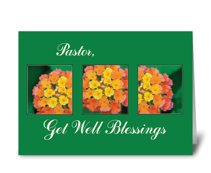 Get Well Blessings Pastor, Flowers greeting card