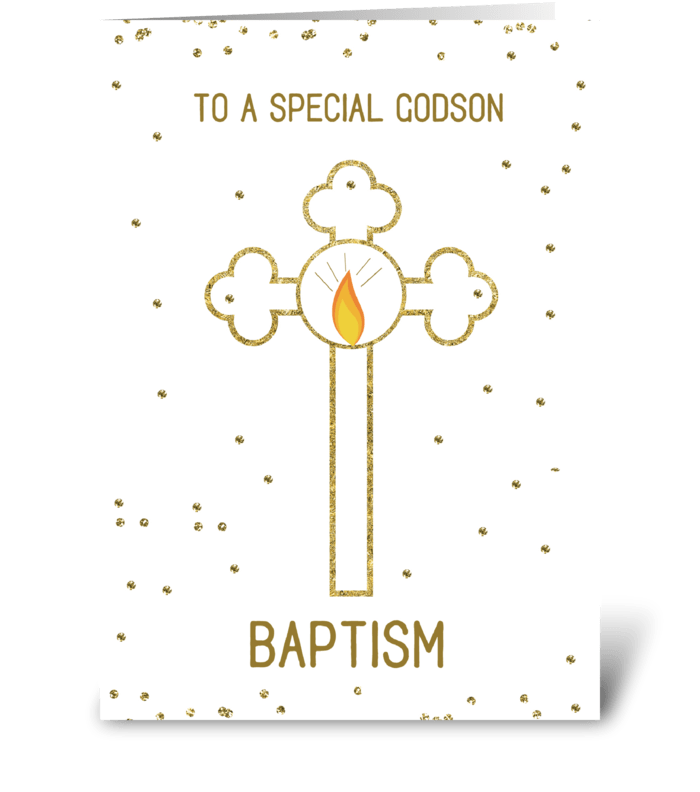 Godson Baptism Gold Cross greeting card