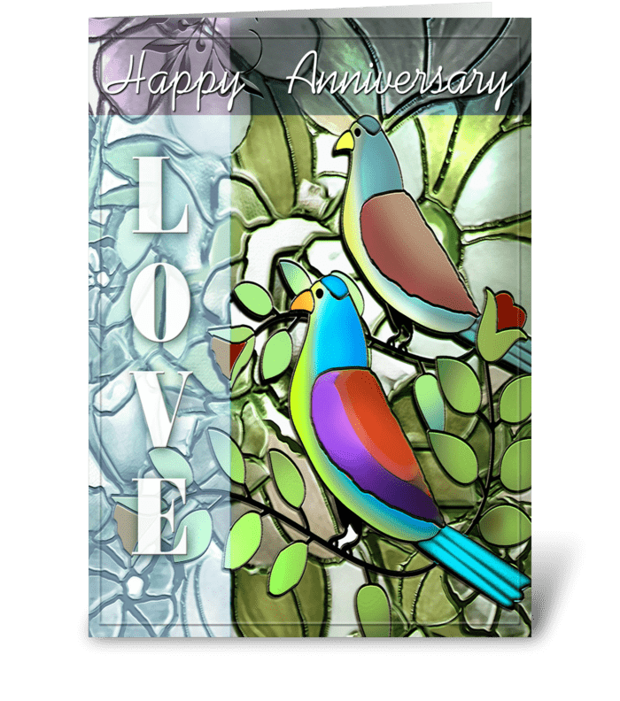 Anniversary, LOVE Birds greeting card
