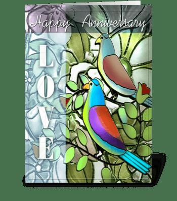 Anniversary, LOVE Birds greeting card