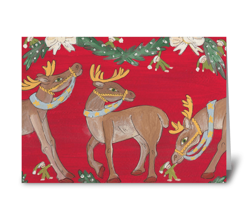 3 reindeer greeting card