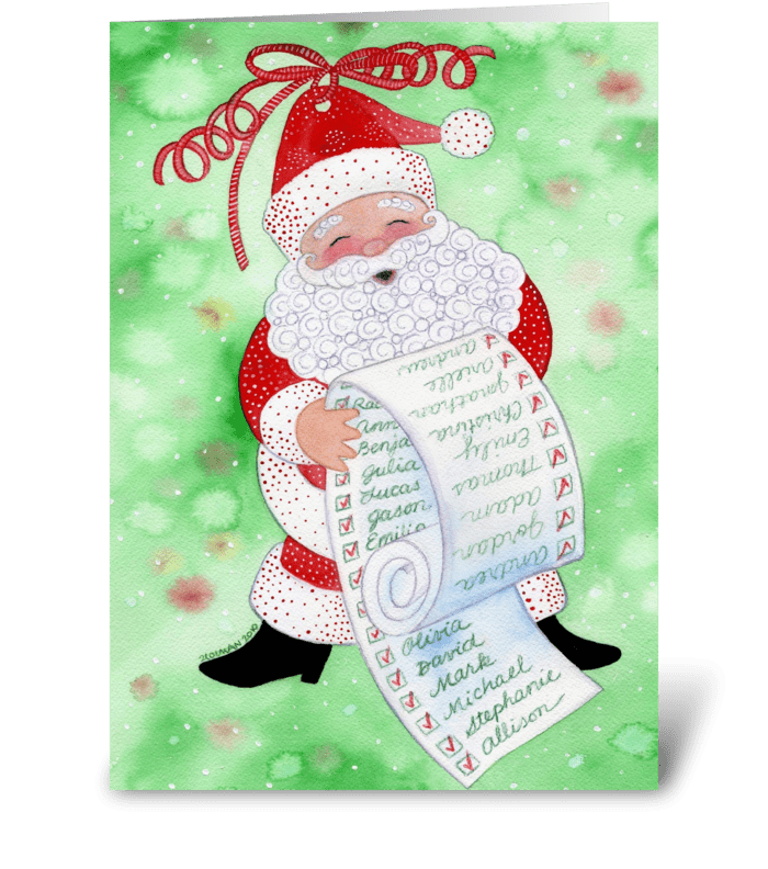 Santa & His List Christmas Card greeting card