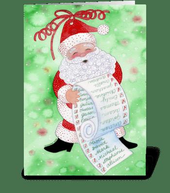 Santa & His List Christmas Card greeting card