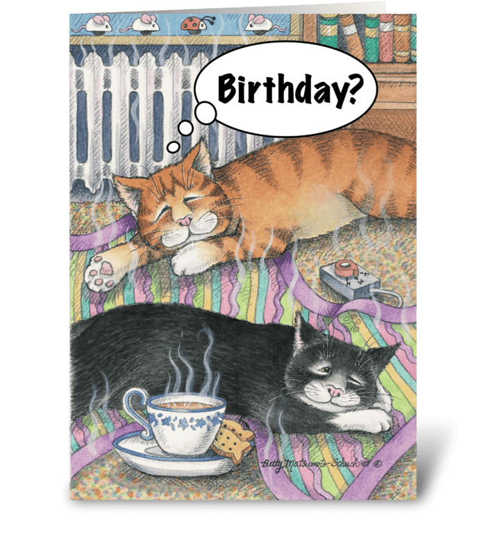 Birthday Cats Napping on Blanket #7 greeting card
