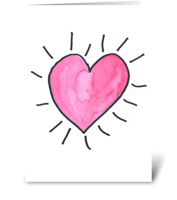 Watercolor Pulsing Heart greeting card