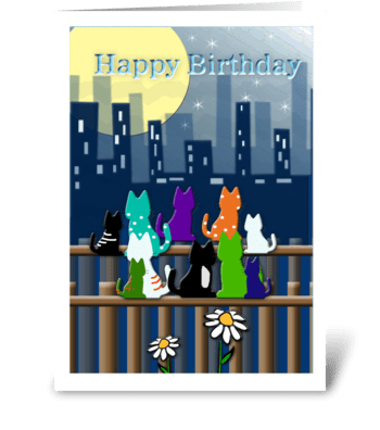 Cool Cat Birthday, Colorful! greeting card