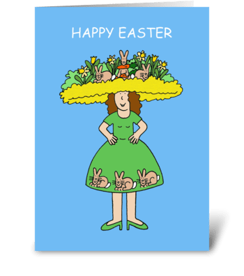 Happy Easter, Fun Easter Bonnet. greeting card