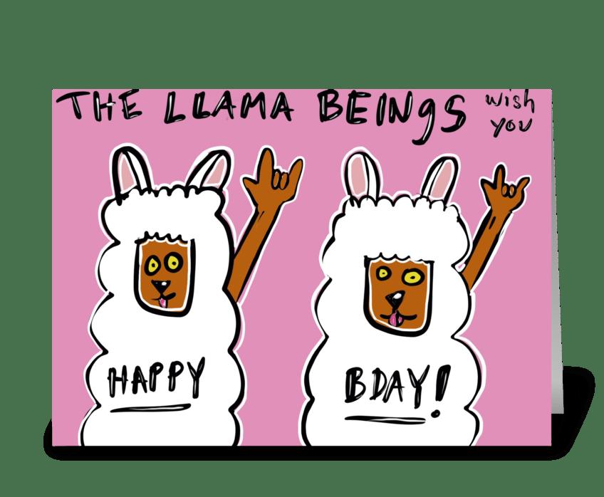 The Llama Beings greeting card