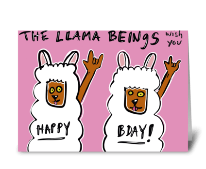 The Llama Beings greeting card