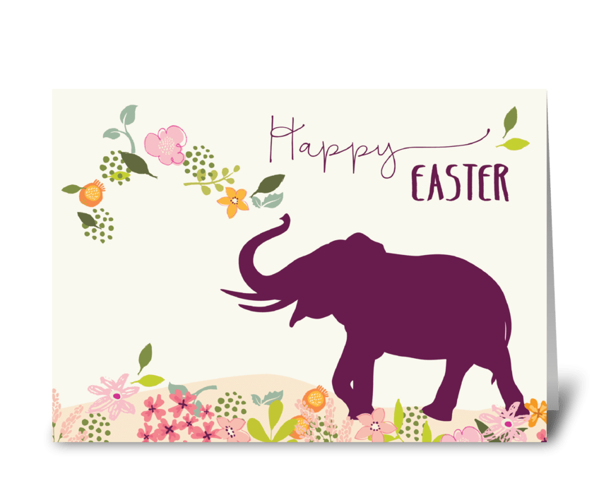Easter with Hope and Joyful Elephant greeting card