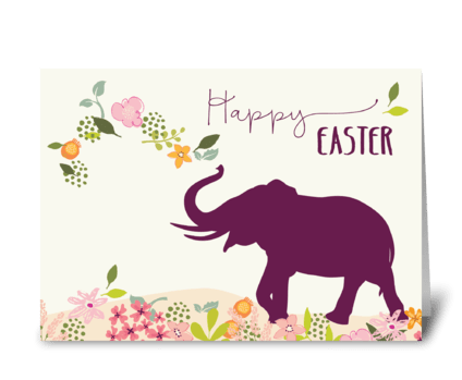 Easter with Hope and Joyful Elephant greeting card