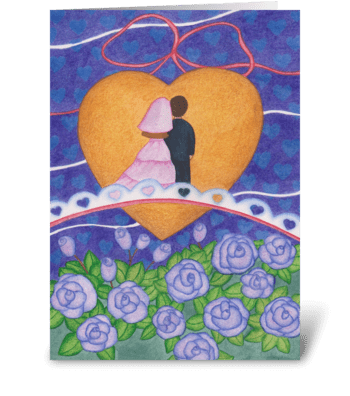 Bridge wedding greeting card