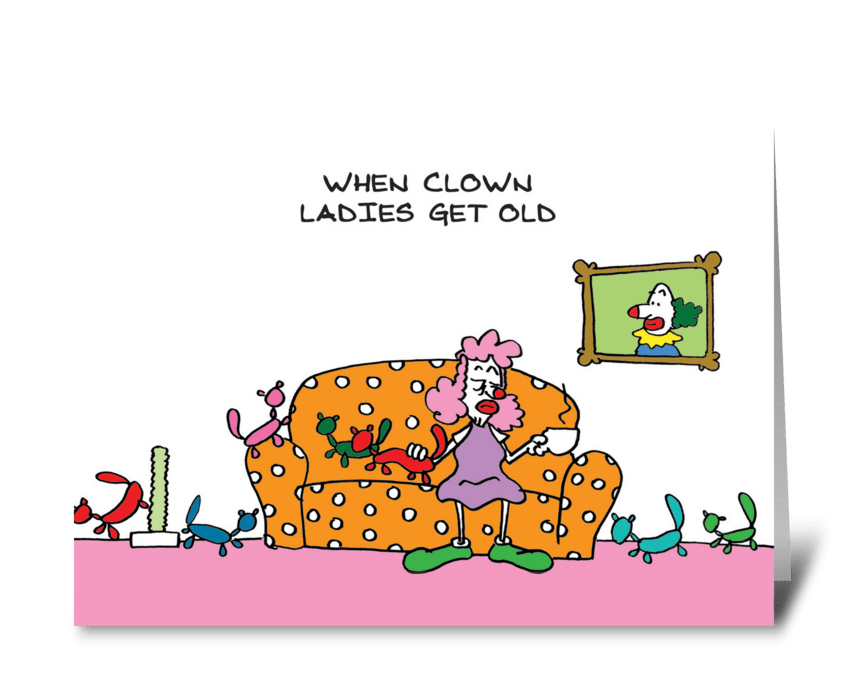 Old Clown Lady greeting card