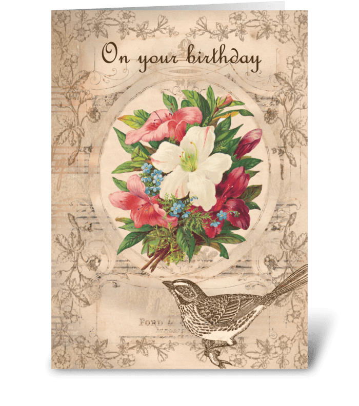 Pretty Flowers & Bird greeting card