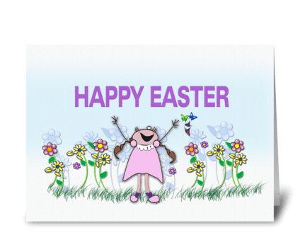 Happy Easter, whimsical Greetings greeting card