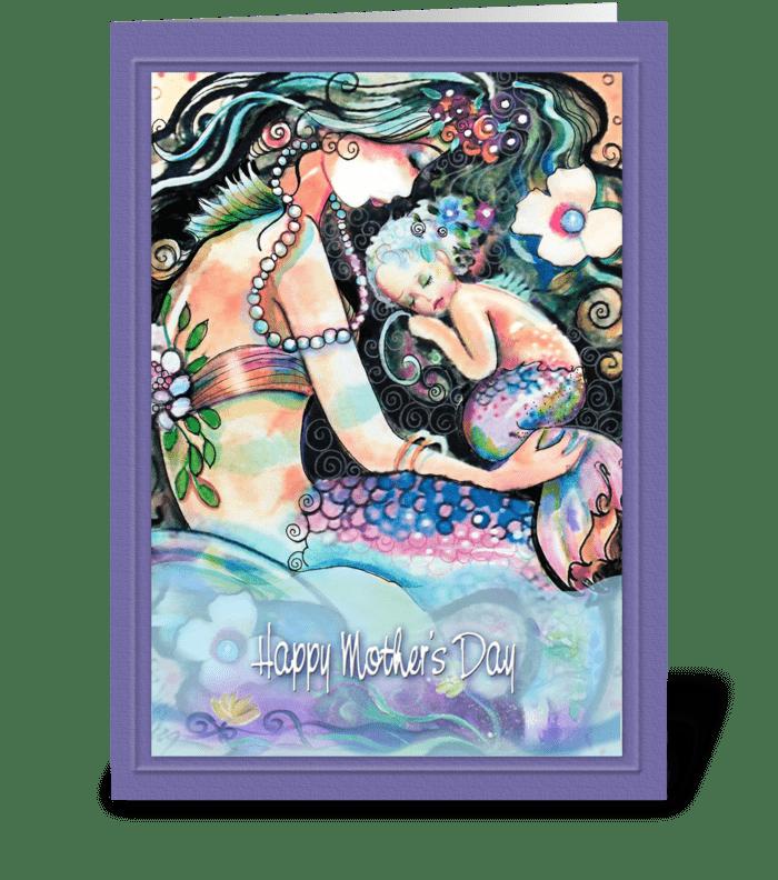 Sleeping Mermaids. Mother's Day ART greeting card