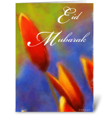 Tulip Bulb Eid mubarak Greeting Card greeting card