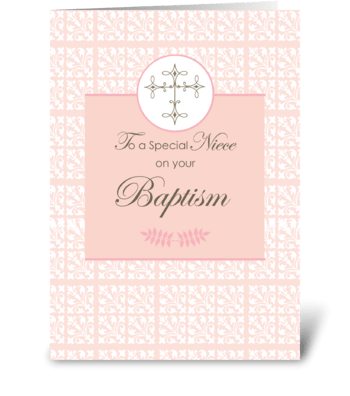 Niece Baptism Pink with Lace and Cross greeting card