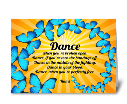 Rumi Dance Poem with Butterflies greeting card