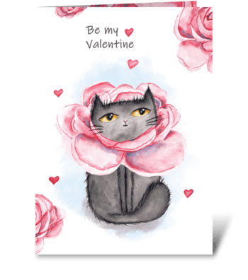 Watercolor Valentine's cats and peonies greeting card