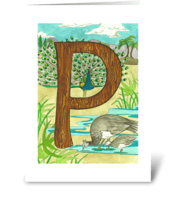 P for Peafowl greeting card
