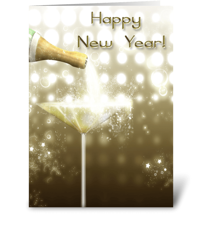 Champagne Sparkle New Year greeting card