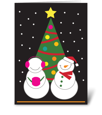Snowman Couple greeting card